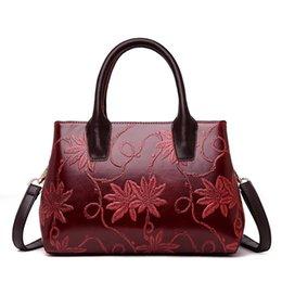 b5a63b2e6f64 Fashion Floral Genuine Leather Women s Handbags High Quality Big Size Women  Tote Bags Women Messenger Bags Lady Shoulder Bag