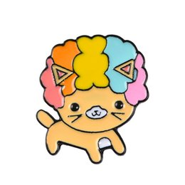 29e8d7f10 Puppy Dog Rainbow Hair Cartoon Animal Brooch For Children Backpack Alloy  Badges Hard Enamel Pin Collection Jewelry Bag Coat Denim Accessory