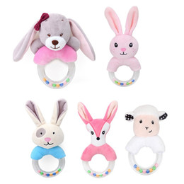 Baby Rattle Rabbit Australia - Cute Plush Rattle Baby Toys Cartoon Bear Bunny Mobile Educational Toys Kids Newborn Rattles Toy 0-12 Months Rabbit Hand Bells