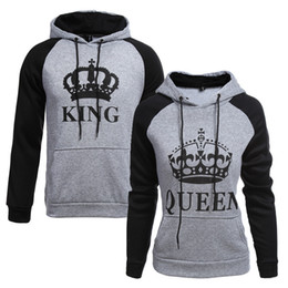 knitted pullover for men UK - 2018 KING Queen Crown Print Unisex Men Women Autumn Hoodies Slim Sweatshirt for Couple Lovers Winter Patchwork Hooded Pullovers T5190612