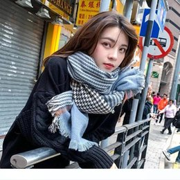 bird scarfs UK - In 2020 The Hottest European scarf American Japanese And Korean Tide Stitching Thousands Of Birds Lattice Cashmere Wool Thick Section Warm S