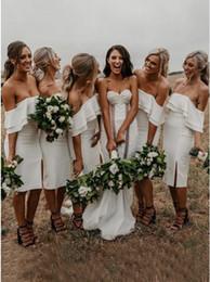 $enCountryForm.capitalKeyWord NZ - Short Bridesmaid Dresses Mermaid Off Shoulder Sleeveless Knee Length Side Slit Formal Homecoming Party Cocktail Country Wedding Guest Dress