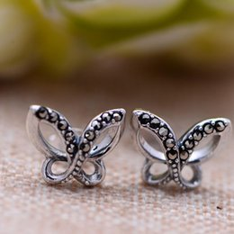 925 Marcasite Sterling Silver NZ - Hot Sale 925 Sterling Silver Jewelry Vintage Marcasite Butterfly Style Fashion Earrings for Women Girl Gifts