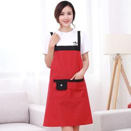 Discount waterproof work aprons - Modern Minimalist Apron Solid Color Waterproof Apron Shoulder Strap Kitchen Work