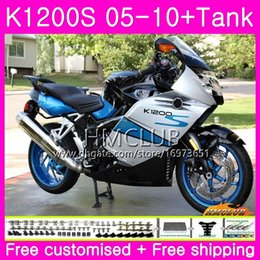 fairing bmw k Australia - Body+Tank For BMW K1200 S K 1200 S K1200S 05 06 07 08 09 10 Kit 30HM.12 K-1200S K 1200S 2005 2006 2007 2008 2009 2010 White Blue Fairing