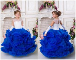 $enCountryForm.capitalKeyWord Australia - Navy Blue and White Flower Girl Dress For Birthday Wedding Party Holiday Girl Tutu Dress