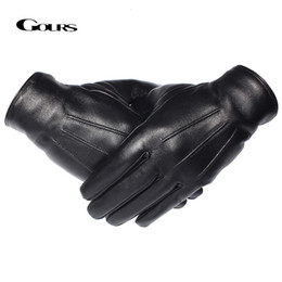 men gloves leather sheepskin NZ - GOURS Winter Gloves Men Genuine Leather Gloves Touch Screen Real Sheepskin Black Warm Driving Gloves Mittens New Arrival GSM050 T191108