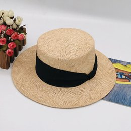 korean gardening hat NZ - 2019 new Korean edition spring and summer new style fashion ribbon decoration treasure grass flat top hat fcmBC-128