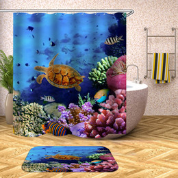 $enCountryForm.capitalKeyWord Australia - Tropical Fish Shower Curtain Undersea Turtle Waterproof Bath Curtains for Bathroom Bathtub Bathing Cover Large Wide 12pcs Hooks
