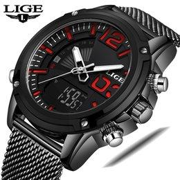 $enCountryForm.capitalKeyWord Australia - LIGE Men Watch New Top Man Sports Quartz Wrist Watches Stainless Steel LED Digital Clock Relogio Masculino
