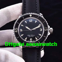 Special Man Watch Australia - Luxury Fifty Fathoms 5015-1130-52 Watch A2836 Movement Stainless Steel Case Special Build Upgraded Black Dial on Sail-canvas Strap Men Watch