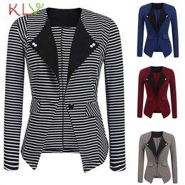 $enCountryForm.capitalKeyWord NZ - Women Blazer Winter Elegant 2018 Fashion Stripe Office Lady Suit Long Plus Size Chamarra Cazadora Mujer Coat For Girls 18Oct26 #409092