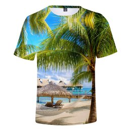 coconut tree t shirt UK - Beach Coconut Tree T shirt Men Women T-shirt Tee Shirts Men's Ocean Sky Beautiful Seaside View Sweet Tshirts 3D Breathable Tops MX200611