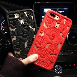Discount hollow flower iphone case 3D Rose Flower Hollow Soft Silicone Phone Case For Samsung Galaxy S6 S7 Edge S8 S9 PIus Note 8 for iPhone 6 6S 7 8 Plus