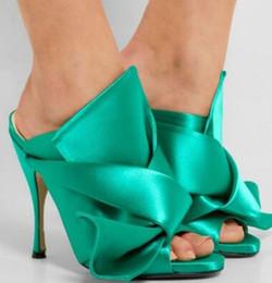 $enCountryForm.capitalKeyWord Australia - Moraima snc 2019 new fashion casual slippers Turquoise Heels Knot Satin Open Toe Mule Sandals for Prom