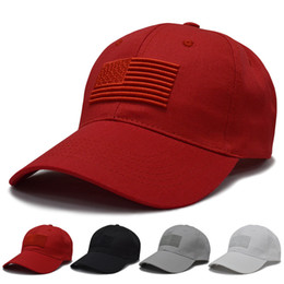bcdd4c4a22d7a Red Black White Solid USA Flag Baseball Caps Unisex Men Women Embroidery  Cotton Hat Summer Outdoor Casual Trucker Snapback Caps
