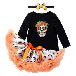 Wholesale short romper outfit for sale – dress Halloween children clothing sets long sleeved pumpkin print top jumpsuit tutu skirt headband three piece baby girl romper outfits M126