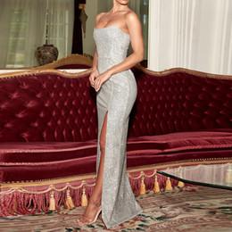 $enCountryForm.capitalKeyWord Australia - Sexy Strapless Maxi Dress Backless Padded Shiny Synthetic Knit Glitter Slit Side Sleeveless Bodycon Evening Party Dress Gown