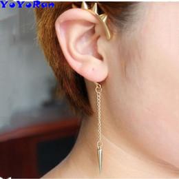 Indian Ear Chain Australia - wholesale 12pcs lot Hyperbole rivet spines pendant tassel chain clip earring ear cuff for man woman punk gold metal ear hang jewelry gift