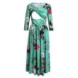 Wholesaler For Plus Size Dresses UK - Nursing Dress Top Women Long Sleeve Flower Breastfeeding Winter Dress for Feeding Maternity Pregnancy Clothes Plus Size 18Dec18