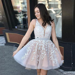 $enCountryForm.capitalKeyWord NZ - 2019 Ivory Champagne Short Homecoming Dresses V Neck Sheer Straps Appliques Beading Backless Prom Dresses Cute Party Dresses