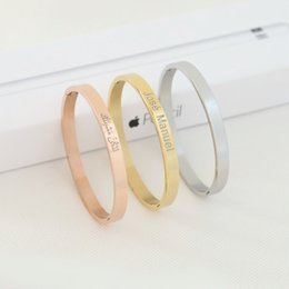 Gold Silver Bracelets For Womens Australia - Personalized Womens Jewelry Rose Gold Bracelet for Women Female Custom Engraved Name Bracelets Bangles Stainless Steel Armbanden