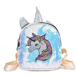 A4 cArtoon online shopping - Fashion Cartoon Unicorn Printed School Backpack For Teenager Sequins Deisgn Female Travel Rucksack PU Children Backpack Girls A4