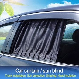 sunshade covers Australia - New 2019 Track Car Sunshade Retractable UV Protection Cover Sun Shield Black For Vehicle Windshield Side Windows for SUV Cars