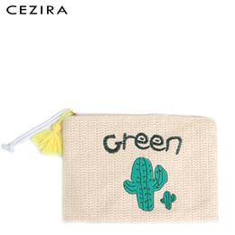 $enCountryForm.capitalKeyWord Australia - CEZIRA Straw Handmade Beach Envelope Day Clutch Girls Handbag Cartoon Summer Women's Woven handy Bag Casual Travel Tassel Purse