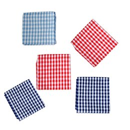 $enCountryForm.capitalKeyWord UK - 5pcs Japanese style pure cotton small grid dining mat, table mat, heat insulation pad, cloth napkin cloth, tea towel