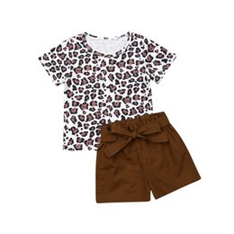 Toddler Winter Outfits UK - Toddler Girls Leopard T Shirts Elastic Short Pants 2pcs Summer Baby Girl Clothing Sets Casual Bow Knot Stretchy Outfits Children