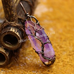 wire wrapped tree life 2019 - 10Pcs Antique Bronze   Silver Plated Wire Wrapped Irregular Raw Purple Electroplated Aura Rainbow Quartz Crystal Point T