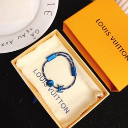 Кожаный трос браслет дизайнерский браслет мужской и женский браслет роскошные дизайнерские украшения мужские браслеты 2019 модные аксессуары класса люкс синий бл на Распродаже
