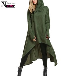 Oversized dresses online shopping - Newbestyle Women s Oversized High Low String Hoodies Tunic Hooded Sweatshirts Loose Long Sleeve Swing Dress With Pocket Pullover Y190916