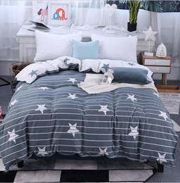 king queen size beds NZ - Gray white stars Twin Full Queen King Size 1pcs Duvet Cover Children adult double increase Quilt cover bedding Home Textiles