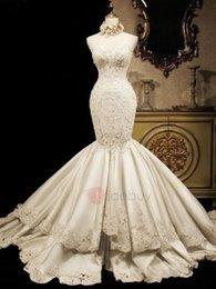 $enCountryForm.capitalKeyWord NZ - Beautiful lace Mermaid wedding dress sleeveless sexy back bride dresses hot sell backless floral embellished bridal gown De Mariee
