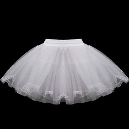petticoats underskirts Australia - White Short Girls Wedding Petticoats Three Layers Lace Edge Tulle Boneless Petticoat Simple Mini Underskirts For