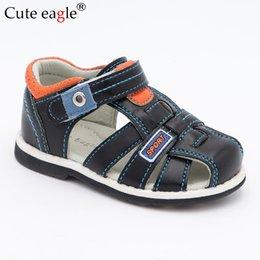 $enCountryForm.capitalKeyWord Australia - Cute Eagle Summer Boys Orthopedic Sandals Pu Leather Toddler Kids Shoes for Boys Closed Toe Baby Flat Shoes Size 20-30 New 2019
