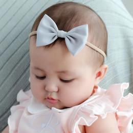 Headbands Bow Australia - INS Free DHL Shipping Baby Headbands Hair Accessories Newborn Girls Hair Bows Solid High Elastic Linen Cotton Hairbandst Infant Headbands