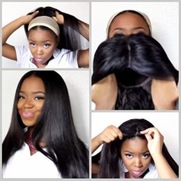 Discount black women long natural hair - Natural Hairline Full Wigs Black Long Silky Straight Hair Wigs with Baby Hair Heat Resistant Glueless Synthetic Lace Fro