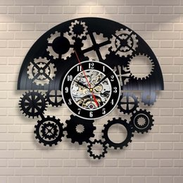12 Gear Australia - Gear Vinyl Record Wall Clock Gift Art Vinyl Record Wall Clock Home Decor Handmade Art Personality Gift (Size: 12 inches, Color: Black)