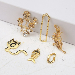 bone charms Australia - Alloy gold plated flower leaf cat fish bone earrings bracelet necklace charm pendant handmade material, jewelry findings