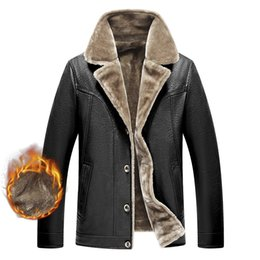 $enCountryForm.capitalKeyWord Australia - PU Leather Fleece Fur Jacket Winter Warm For Men Autumn Thick Casual Long Sleeve Classic Parka Coat Padded Varsity Overcoat Male