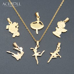 Angels Figures Australia - ACEROLL Stainless Steel Fashion Trendy Gift Figure Girl Woman Angel Ballet Small Pendant Necklace