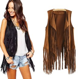 Ethnic vEst online shopping - New Style Women s Vest Autumn Winter Suede Ethnic Sleeveless Tassels Fringed Vest Cardigan Leather Female Coat giacca donna