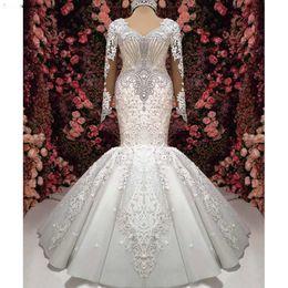 $enCountryForm.capitalKeyWord Australia - Pure White Gorgeous Long Sleeves Mermaid Wedding Dresses V-Neck Lace Appliques Rhinestones Beaded Arabic Bridal Gowns Court Train 2020