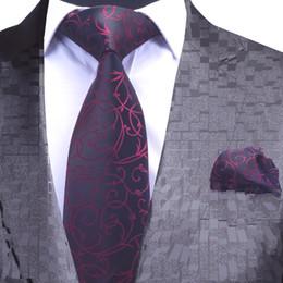64f55046e885 Plaid mens neck tie sets jacquard blue Floral Handkerchief Necktie Party  Paisley Gravata Corbata Suit Pocket Square Wedding Ties