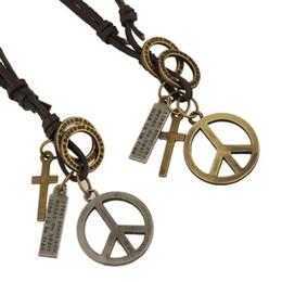 Black diamonds cross necklace online shopping - Antique Vintage Cross Dog Tag Hollow Peace Symbol Pendant Necklace Men Long Brown Leather Necklace Cord Men Jewelry Accessories