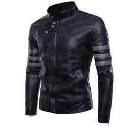 Quality Spring And Autumn Leather Garment Mens Fashionable Slim Coat With Vertical Collar Pilot Jacket Leather Jacket Superior In