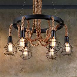 $enCountryForm.capitalKeyWord Australia - loft vintage retro lamps cage hemp rope lights bar pub club cafe restaurant living room balcony stair aisle pendant lamp